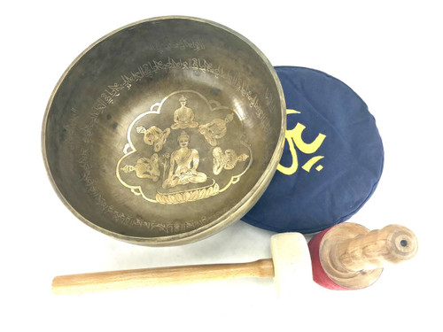"""14.25"""" E/A# Note Etched Golden Buddha Singing Bowl #e41410118"""