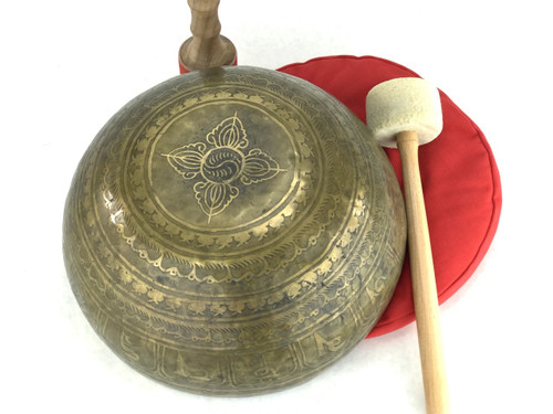 """13"""" F#/C# Note Golden Buddha Etched Himalayan Singing Bowl #f32400118"""