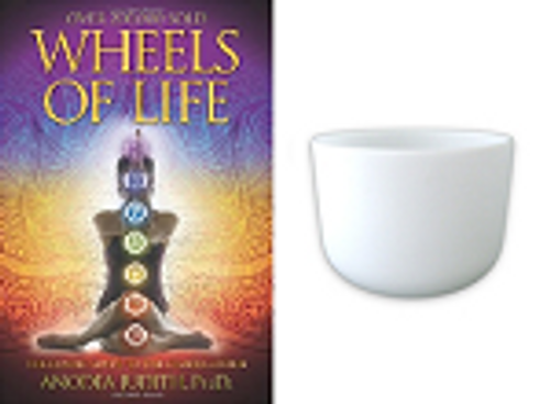 Chakra frosted crystal singing bowl with educational book on the chakras