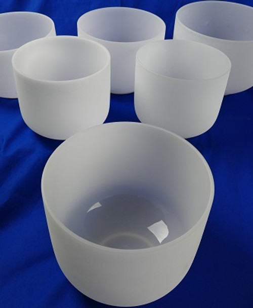 Aeolian Mode (Minor Scale) Frosted Crystal Singing Bowl Set