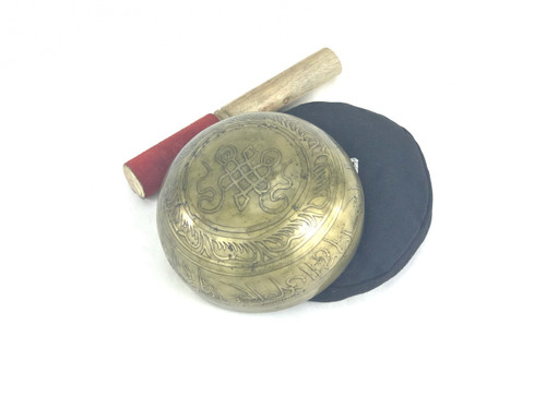 """5.25"""" G#/D Note Etched Golden Buddha Himalayan Singing Bowl #g5380218x"""