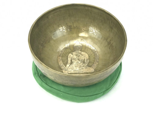 "10.25"" A#/F Note Etched Golden Buddha Himalayan Singing Bowl #a20000418"