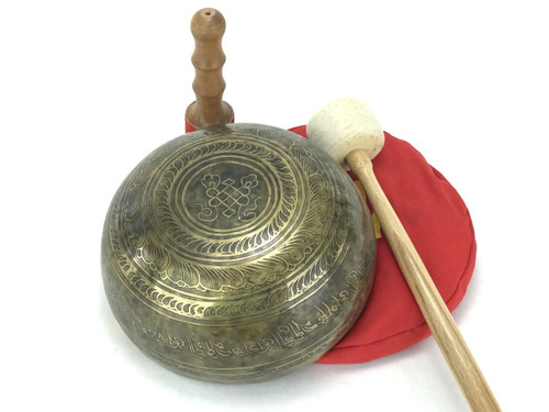 "9.25"" D#/G# Note Etched Golden Buddha Himalayan Singing Bowl #g12420418"