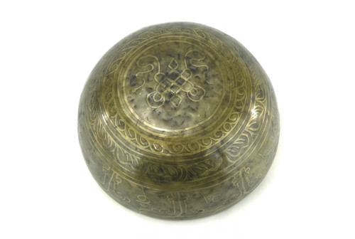"11.5"" A/E Note Etched Golden Buddha Himalayan Singing Bowl #a24500518"