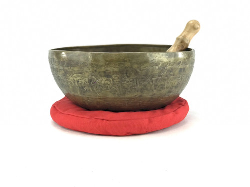 """10.75"""" F/A# Note Etched Golden Buddha Himalayan Singing Bowl #f21700618"""