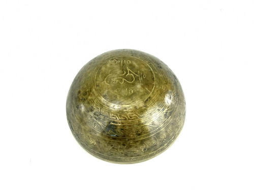 """10.75"""" A/E Note Etched Golden Buddha Himalayan Singing Bowl #a20540618"""