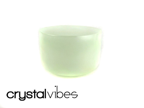 """11"""" 432 Hz Perfect Pitch F Note Prehnite Fusion Empyrean Crystal Singing Bowl -30 cents  11000886"""