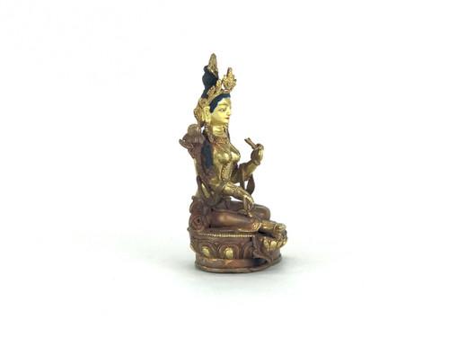 "Gilded Gold/Bronze 9"" Green Tara Nepalese Statue #st218"