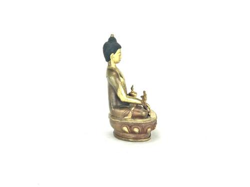"Gilded Gold/Bronze 8"" Shakyamuni Nepalese Buddha Statue #st233"