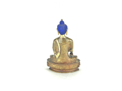 """Gilded Gold/Bronze 8"""" Earth Touching Nepalese Buddha Statue #st243"""
