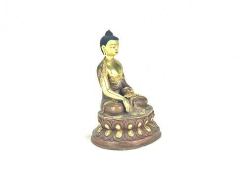 "Gilded Gold/Bronze 8"" Shakyamuni Nepalese Buddha Statue #st245"