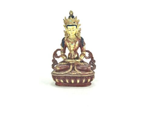 """Gilded Gold/Bronze 8.5"""" Amitabha Nepalese Buddha Statue #st250"""