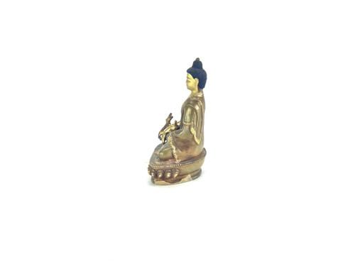 "Gilded Gold/Bronze 6"" Shakyamuni Nepalese Buddha Statue #st251"