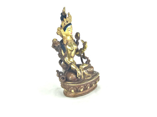 "Gilded Gold/Bronze 9"" White Tara Nepalese Statue #st254"