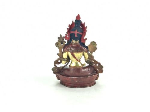 "Gilded Gold/Bronze 8.5"" Green Tara Nepalese Statue #st255"
