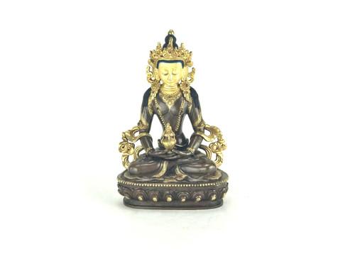 """*Light Blemished Gilded Gold/Bronze 8.5"""" Amitabha Nepalese Buddha Statue #st256"""