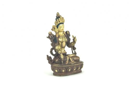 "Gilded Gold/Bronze 9"" White Tara Nepalese Statue #st258"
