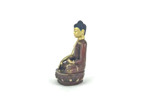 "Gilded Gold/Bronze 8"" Shakyamuni Nepalese Buddha Statue #st263"