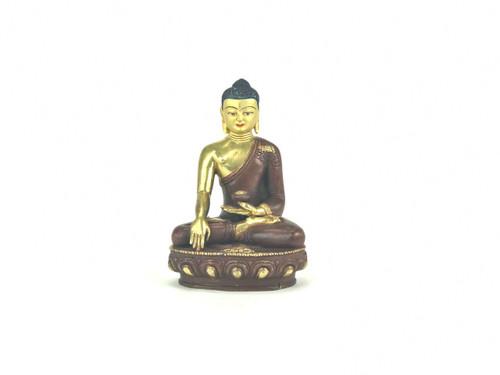 "Gilded Gold/Bronze 8"" Shakyamuni Nepalese Buddha Statue #st265"