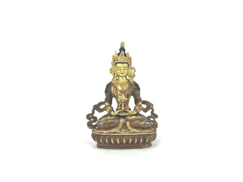 """Gilded Gold/Bronze 8.5"""" Amitabha Nepalese Buddha Statue #st276"""