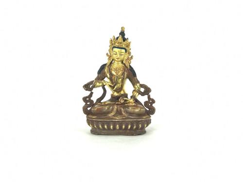 "Gilded Gold/Bronze 8.5"" Vajrasattva Nepalese Buddha Statue #st131"