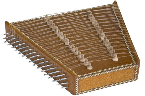 MAHARAJA MUSICALS CLASSICAL INDIAN SANTOOR/SANTUR - NO. 296, (NATURAL COLOUR, BOX, 93 STRINGS)