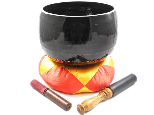 "Black A Note Japanese Style Rin Gong Singing Bowl 10"" +45 cents  66000166"