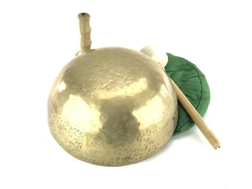 """12.75"""" F#/D Note Engraved Himalayan Singing Bowl #f31450219"""