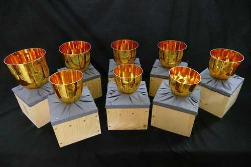 All Gold 432hz Perfect Pitch 8 Bowl Handle Bowl Set