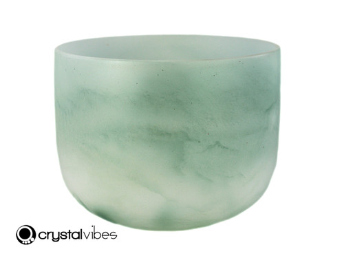 """9"""" 432Hz Perfect Pitch A Note Emerald Fusion Empyrean Crystal Singing Bowl -35 cents  11001438"""