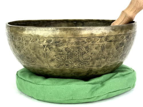 """11"""" A#/F Note Etched Himalayan Singing Bowl #a21200920"""
