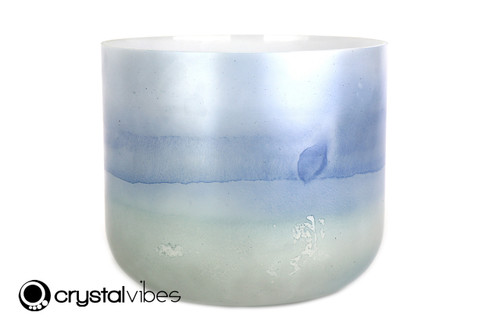 """10"""" D Note Blue Kyanite/Turquoise Gemstone Fusion Empyrean Crystal Singing Bowl -45 cents  11001529"""