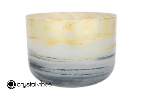 """12"""" Perfect Pitch A Note Citrine/Lapis Gemstone Fusion Empyrean Crystal Singing Bowl +5 cents  11001624"""