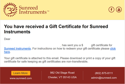 Gift Certificate your recipient receives,