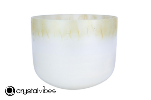 """10"""" Perfect Pitch A Note Citrine/White Gold Gemstone Fusion Empyrean Crystal Singing Bowl -5 cents  11001627"""