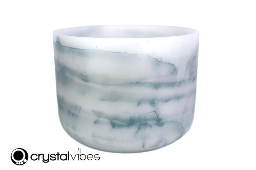 """9"""" G#  Note Larimar Gemstone Fusion Opaque Crystal Singing Bowl +25 cents  11001658"""