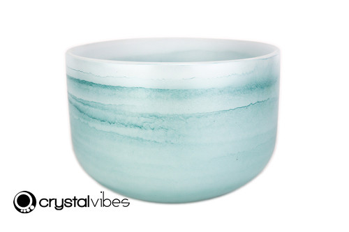 """12"""" Perfect Pitch 432Hz G Note Turquoise Fusion Empyrean Crystal Singing Bowl -35 cents  11001686"""