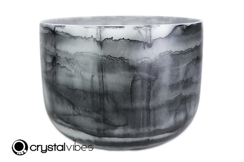"""13"""" Perfect Pitch C Note Black Tourmaline Fusion Empyrean Crystal Singing Bowl +5 cents  11001704"""