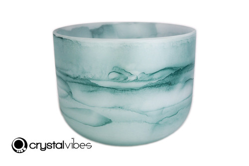 """12"""" 432 hz Perfect Pitch E Note Turquoise Fusion Empyrean Crystal Singing Bowl -30 cents  11001707"""