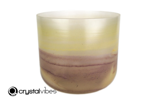 "10"" G Note Amethyst/Citrine Gemstone Fusion clear Crystal Singing Bowl +40 cents  11001726"