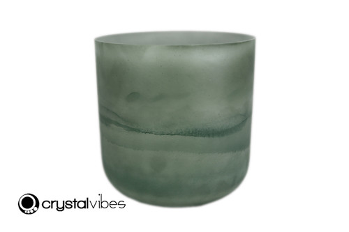 8'' Perfect Pitch B Note Malachite Opaque Fusion Crystal Singing Bowl +0 cents  11001735