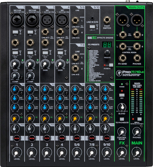 Mackie ProFX10v3 10-channel Mixer with USB (4 XLR Mic Input)