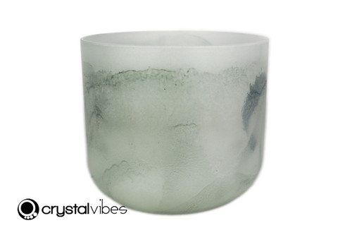 """6"""" F#  Note Malachite Fusion Opaque Crystal Singing Bowl -15 cents  11001764"""