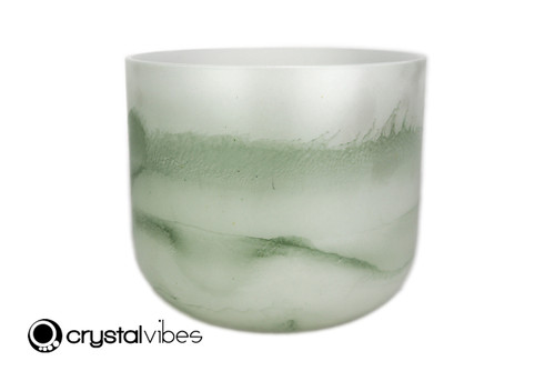 """7"""" 432Hz F Note Peridot Fusion Opaque Crystal Singing Bowl -25 cents  11001768"""