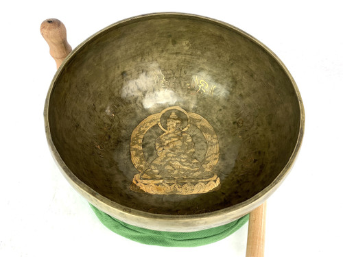 """12.25"""" G#/D# Note Etched Golden Buddha Himalayan Singing Bowl #g27850121"""
