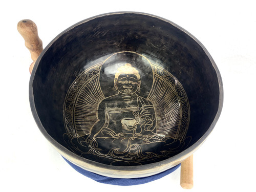 """12.25"""" A/D# Note Dark Etched Himalayan Singing Bowl #a28500121"""