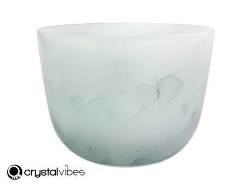 """8"""" 432Hz Perfect Pitch A Note Moss Agate Fusion Empyrean Crystal Singing Bowl -35 cents  11001808"""