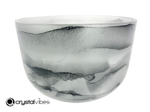 """8"""" 432 Hz Perfect Pitch C#  Note Empyrean Black Tourmaline Crystal Singing Bowl -30 cents  11001809"""