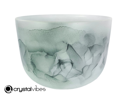 """9"""" Perfect Pitch A Note Moss Agate Gemstone Fusion Empyrean Crystal Singing Bowl +5 cents  11001819"""