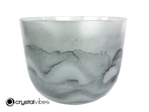"""8"""" 432 Hz Perfect Pitch B Note Empyrean Black Tourmaline Crystal Singing Bowl -30 cents  11001821"""